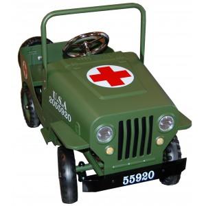 Voiture à pédales métal Jeep Croix Rouge kaki, Protocol