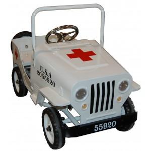 Voiture à pédales métal Jeep Croix Rouge blanche