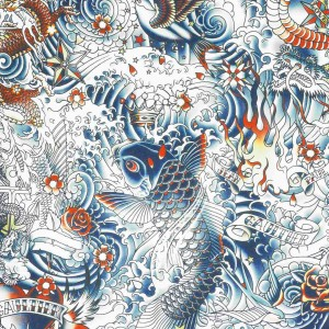 Papier peint Irésumi Bleu, Jean Paul Gaultier