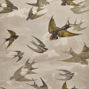 Papier peint Chimney Swallows Sepia, John Dorian