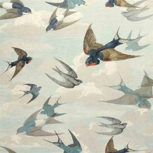 Papier peint Chimney Swallows Sky Blue, John Dorian