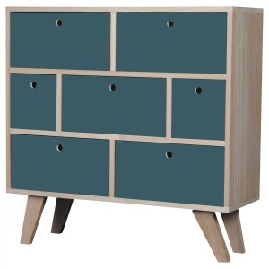 Commode Vik scandinave bleu 7 tiroirs