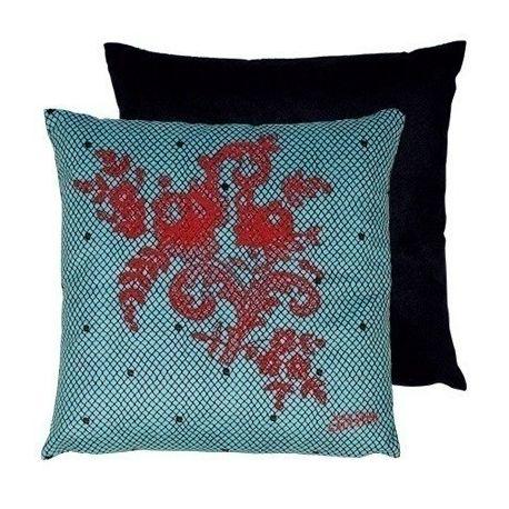 Coussin Discret bleu rouge Jean Paul Gaultier