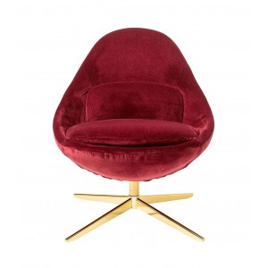 Fauteuil pivotant Dawn velours rouge, Bloomingville