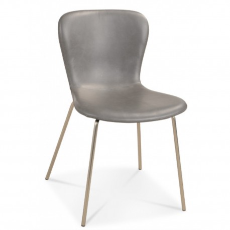Chaise façon cuir gris