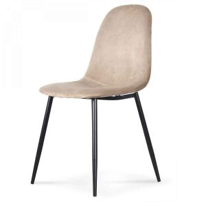 Chaise velours taupe pieds noir