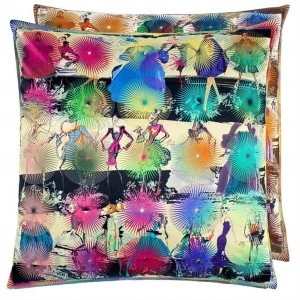 Coussin Photocall Multicolore Christian Lacroix en coton et soie 55 cm