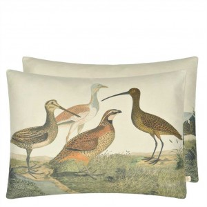 Coussin rectangulaire Birds of a Feather Parchment, John Derian