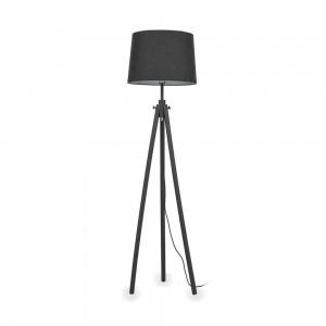 Lampadaire York Noir Ideal Lux 3 pieds en bois naturel abat jour noir