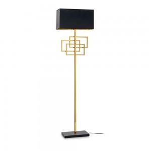 Lampadaire haut de gamme Luxury doré Ideal Lux avec abat-jour noir