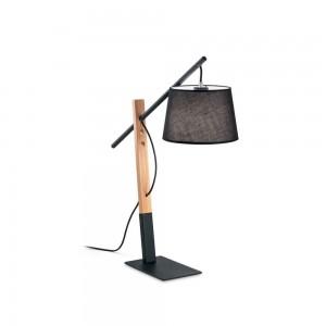 Lampe Eminent noire Ideal Lux en métal noir et bois naturel