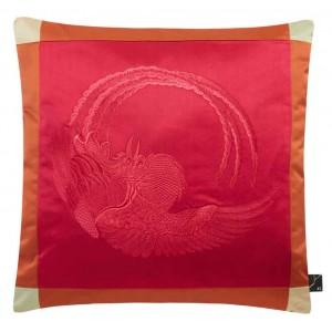 Luxueux coussin carré en satin brodé rouge Phoenix K3 by Kenzo Takada