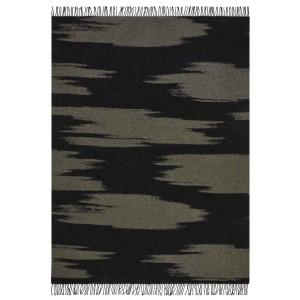 Plaid frangé Kami noir en laine motif grands nuages K3 by Kenzo Takada