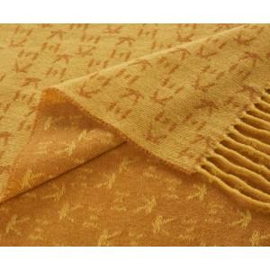 Plaid frangé Koko en laine et cachemire jaune K3 by Kenzo Takada