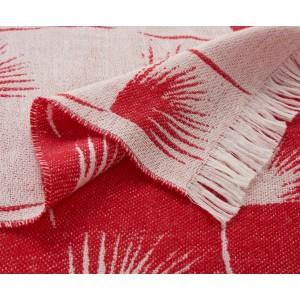 Plaid Edeum en laine rouge et blanc réversible K3 by Kenzo Takada