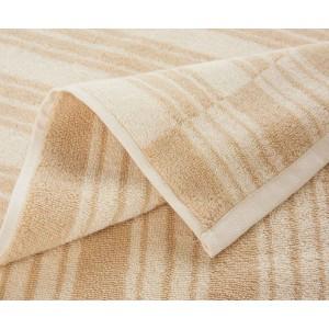Drap de bain à rayures réversible Jima beige/ivoire K3 by Kenzo Takada