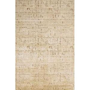 Tapis Glyphe naturel en soie aux motifs en creux Toulemonde Bochart