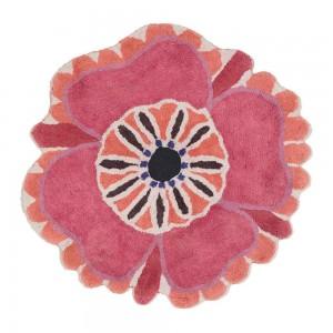 Tapis de bain Aretha rose épais rond fleur rose en coton Missoni Home