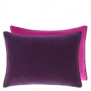 Coussin rectangulaire velours Cassia Aubergine/Magenta Designers Guild