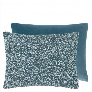 Coussin rectangulaire velours bleu Elliottdale Delft Designers Guild