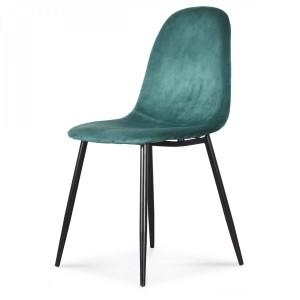 Chaise design en velours vert avec pieds en métal noir