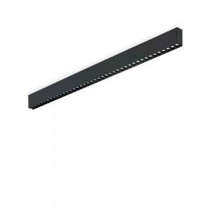 Plafonnier noir design étroit rectangulaire led Steel Ideal Lux 107 cm