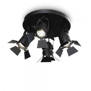 Plafonnier spot noir mat design orientable avec ailettes mobiles Ciak Ideal Lux
