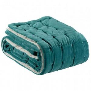 Jeté de lit Elise vert de gris en velours de coton piqué main Vivaraise
