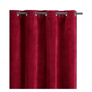 Rideau à oeillets Elise rouge griotte en velours assez épais Vivaraise