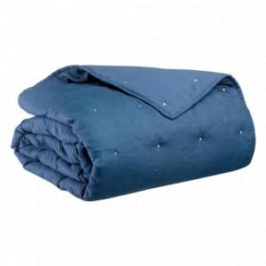 Jeté de lit en lin bleu finition points de broderie Vivaraisefinition points de broderie Vivaraise