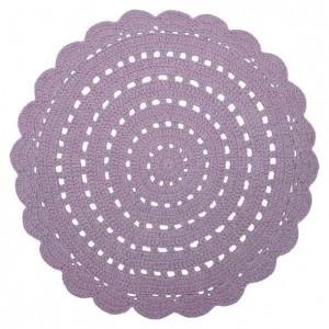Tapis enfant rond mauve en coton crocheté Alma Nattiot D 120 cm