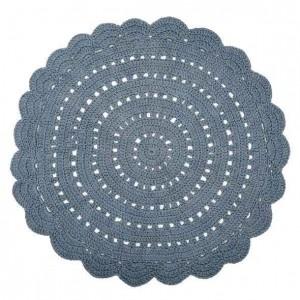 Tapis enfant rond bleu-gris en coton crocheté Alma Nattiot D 120 cm