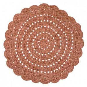 Tapis enfant rond ambre en coton crocheté Alma Nattiot D 120 cm