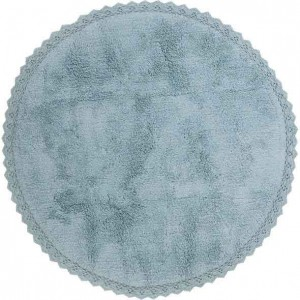 Tapis enfant rond Perla bleu en coton uni finition crochet Nattiot