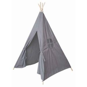 Tipi gris en tissu pour chambre d'enfant JaBaDaBaDo