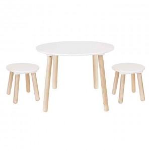 Table + 2 tabourets blanc pour chambre d'enfant JaBaDaBaDo