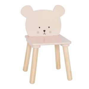 Chaise ours rose en bois enfant JaBaDaBaDo au dossier petit ours