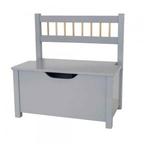 Banc coffre gris en bois 46,5 x 33 x 55,5 cm, JaBaDaBaDo