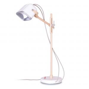Lampe Mob Wood blanche scandinave en métal et frêne naturel, Swabdesign