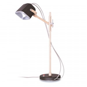Lampe Mob Wood noire scandinave en métal et frêne naturel Swabdesign