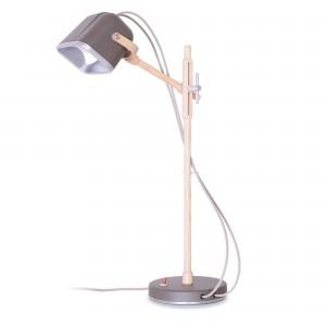 Lampe Mob Wood grise scandinave en métal et frêne naturel, Swabdesign