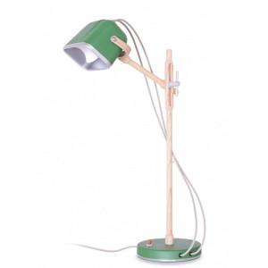 Lampe Mob Wood verte scandinave en métal et frêne naturel, Swabdesign