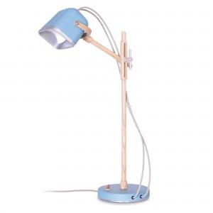 Lampe Mob Wood bleu scandinave en métal et frêne naturel, Swabdesign
