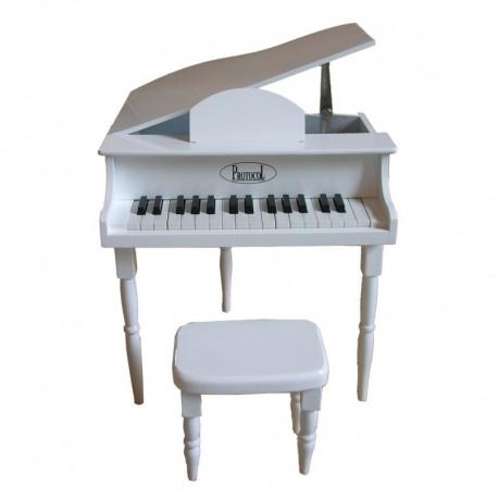 Petit piano et tabouret blanc