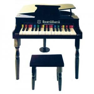 Petit piano demi queue noir pour enfant et son tabouret Protocol